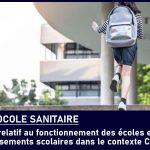 PROTOCOLE SANITAIRE POUR LES ECOLES ET ETABLISSEMENTS SCOLAIRES COVID19