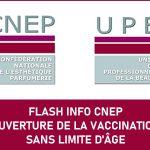 FLASH INFO: OUVERTURE DE LA VACCINATION SANS LIMITE D'ÂGE